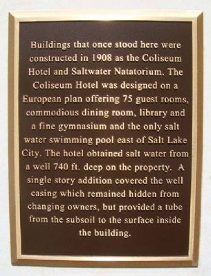 Coliseum Hotel and Saltwater Natatorium Marker image. Click for full size.