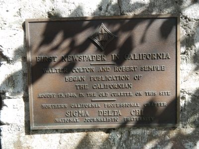 First Newspaper in California Marker image. Click for full size.
