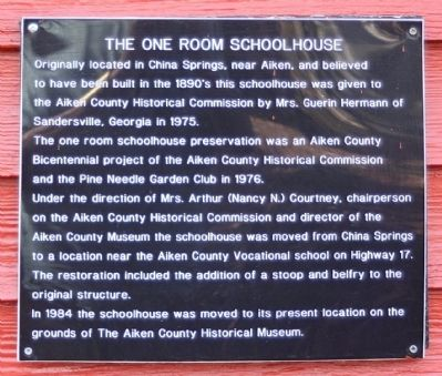 The One Room Schoolhouse Marker image. Click for full size.