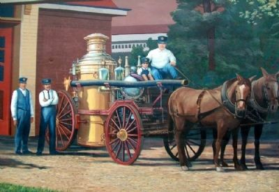 Early Police and Fire Departments Mural Detail image. Click for full size.