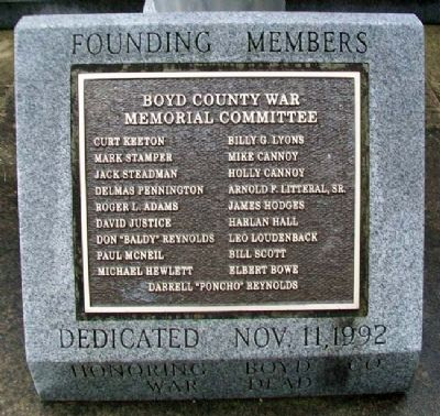 Boyd County War Memorial Committee Marker image. Click for full size.