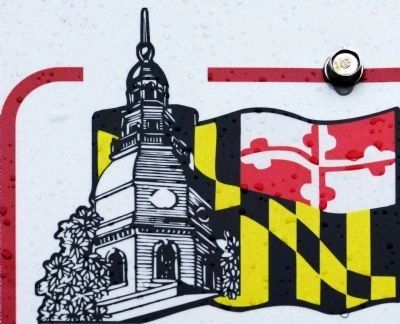 The State House Dome and Maryland Flag image. Click for full size.