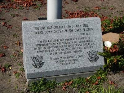 San Carlos Parish Veterans Memorial Marker image. Click for full size.