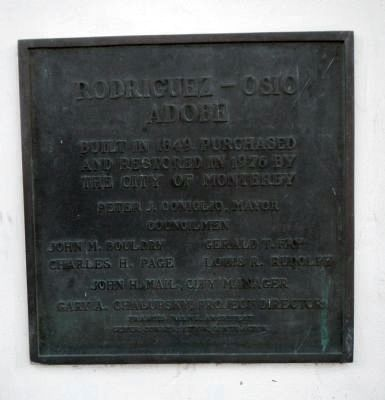 Restoration plaque for the Rodriguez – Osio Adobe image. Click for full size.