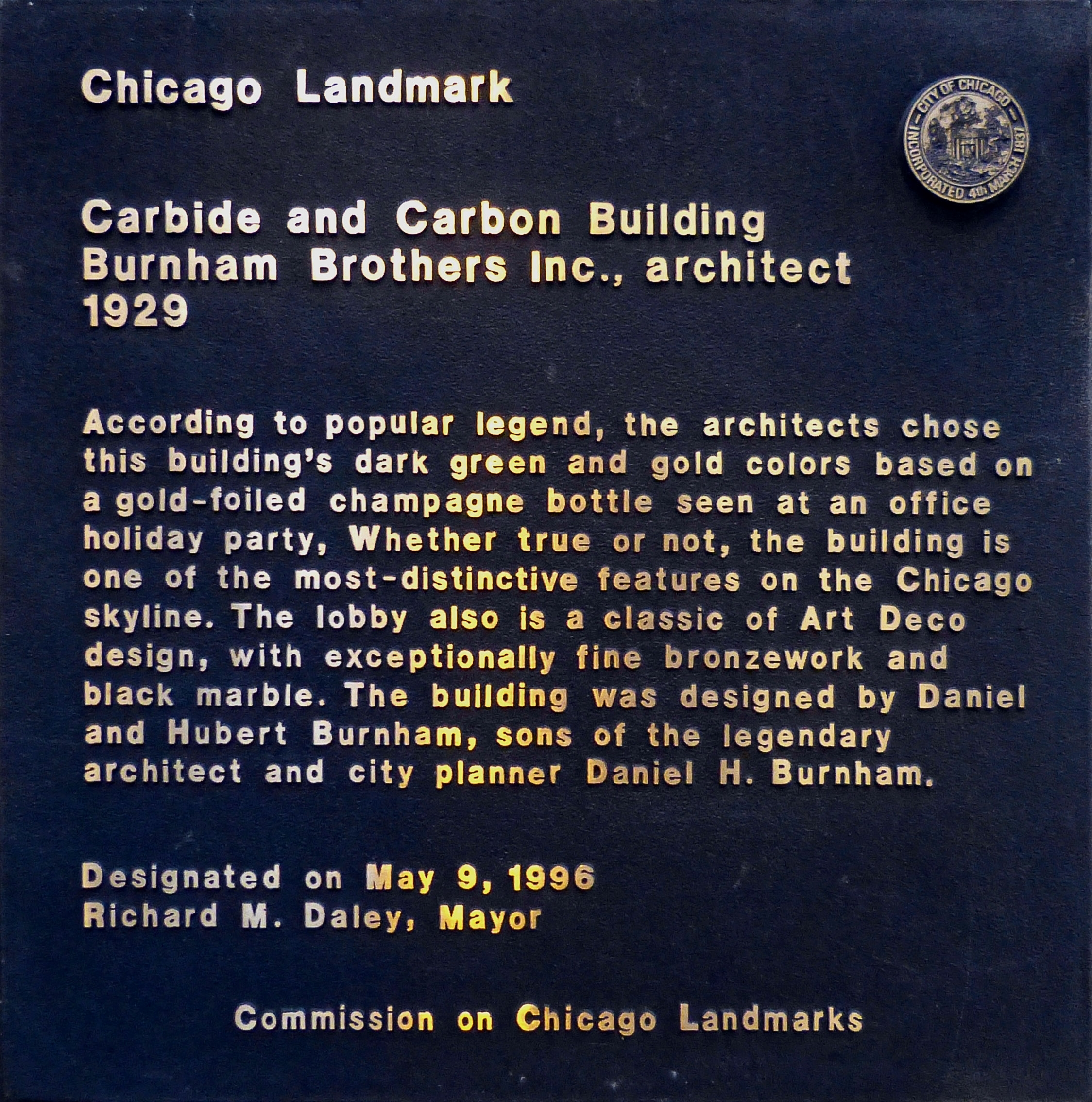 Carbide and Carbon Building Marker