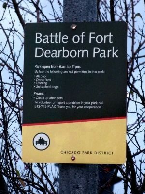 Battle of Fort Dearborn Park Sign image. Click for full size.