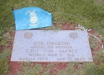 Medal of Honor Recipient Joe H. Hayashi Grave Site image. Click for full size.
