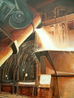 Steel Industry, 1870-1980 Mural Detail image. Click for full size.