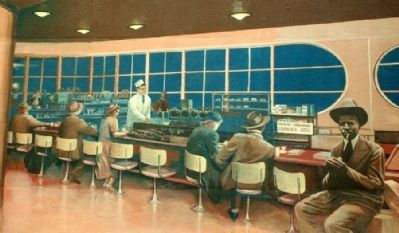 The Greyhound Bus Station, 1941 Mural Detail image. Click for full size.