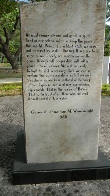 General Jonathan M. Wainwright Monument, north face image. Click for full size.