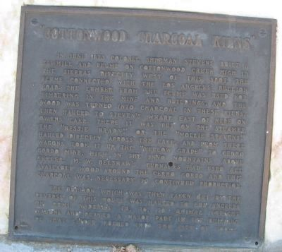 Cottonwood Charcoal Kilns Marker at its Re-dedication Site image. Click for full size.