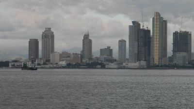 The Manila skyline - viewed from the ferry whose terminal is near image. Click for full size.