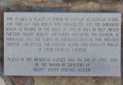 Captain MacDonald Austin and Sargeant Jack Berlin Marker image. Click for full size.