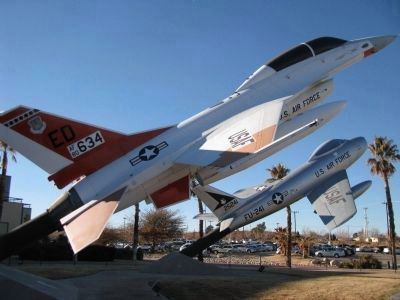 "F-16B on the left and F-86F ""Sabre"" on the right. image. Click for full size."