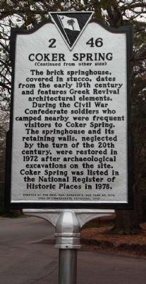 Coker Spring Marker, Reverse side image. Click for full size.