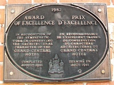 Grand Central Hotel Award of Excellence Marker image. Click for full size.