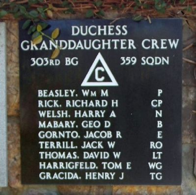 "303rd Bomb Group 359th Bomb Squadron - ""Duchess Granddaughter"" Crew image. Click for more information."