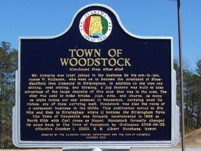 Town of Woodstock Marker, side B image. Click for full size.