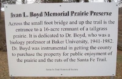 Ivan L. Boyd Memorial Prairie Preserve Marker image. Click for full size.