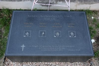 Memorial Marker to the Four Girls Killed in the Bomb Blast. image. Click for full size.