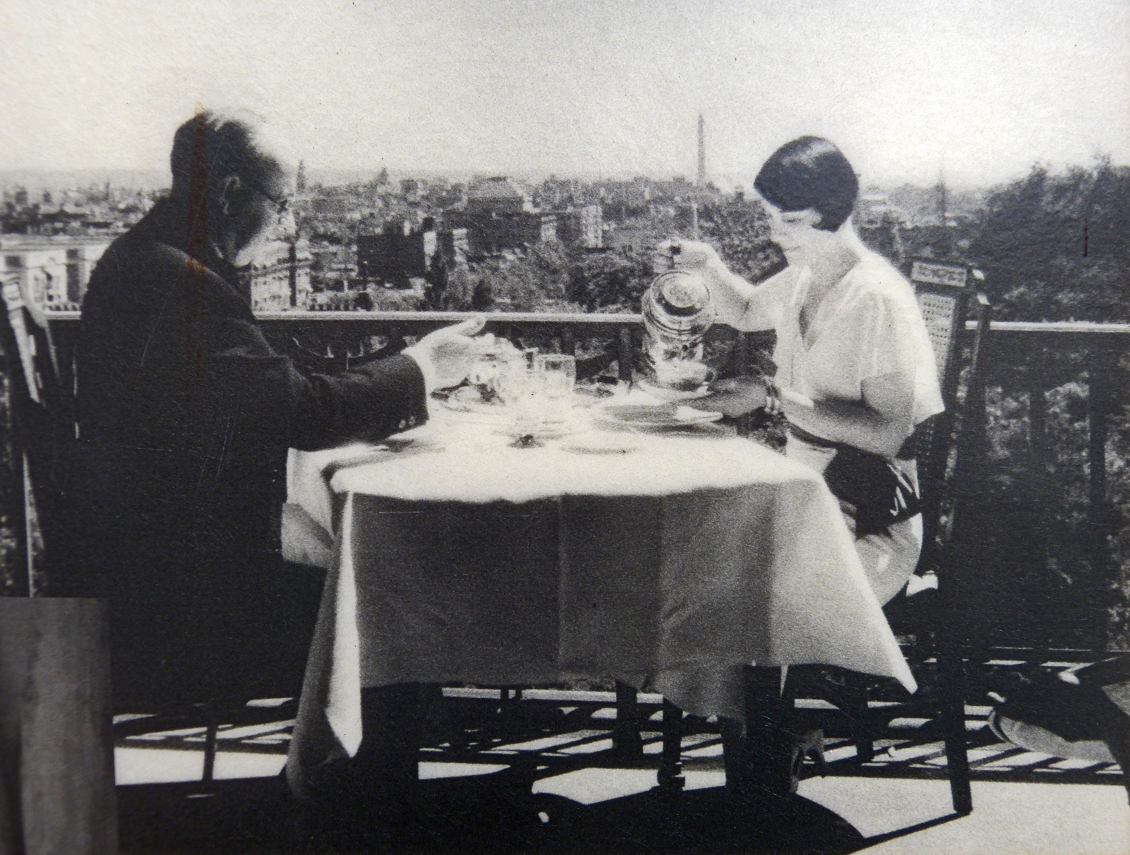 Breakfasting at Meridian Hill Mansions (the Envoy), 1930s.