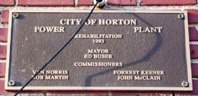 Horton Municipal Power Plant Rehabilitation Marker image. Click for full size.