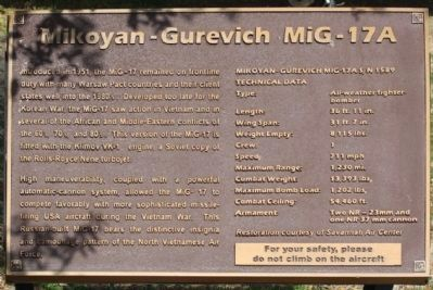 New Mikoyan-Gurevich MiG- 17A Marker seen in 2013 image. Click for full size.