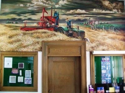 """Men and Wheat"" Mural in Seneca Post Office Lobby image. Click for full size."