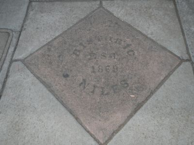 """Historic Niles, Est. 1869"" in the sidewalk image. Click for full size."