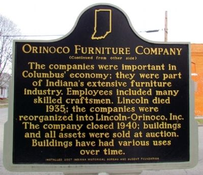 Orinoco Furniture Company Marker (Back) image. Click for full size.
