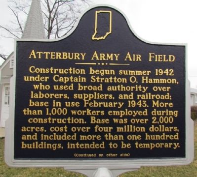 Atterbury Army Air Field Marker (Front) image. Click for full size.