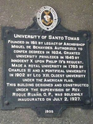 University of Santo Tomas Marker <i>Panel 1</i> image. Click for full size.