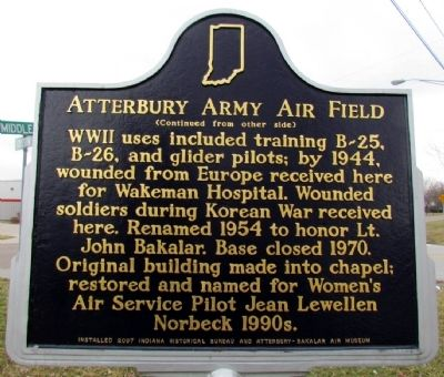 Atterbury Army Air Field Marker (Back) image, Touch for more information