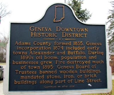 Geneva Downtown Historic District Marker (Front) image. Click for full size.