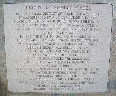 Former Location of Corning Rural High School Marker (back) image. Click for full size.