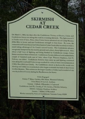 Skirmish at Cedar Creek Marker image. Click for full size.