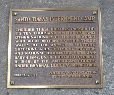 Santo Tomas Internment Camp Marker image. Click for full size.