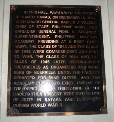 Plaque commemorating UST student cadets who fought with Philipping Army and guerrilla units in WWII image. Click for full size.