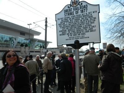 Crowd at marker dedication March 23, 2013 image. Click for full size.