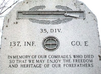 Company E, 137th Infantry Regt, 35th Infantry Div Memorial Dedication image. Click for full size.