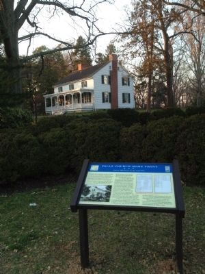 Cherry Hill Farmhouse with marker in foreground image. Click for full size.