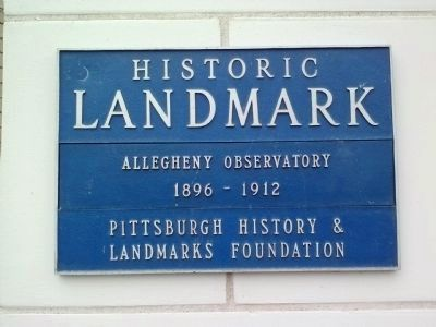 Allegheny Observatory Historic Landmark plaque image. Click for full size.