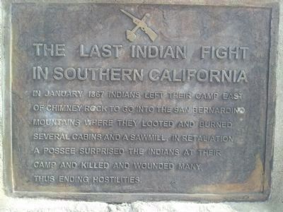The Last Indian Fight in Southern California Marker image. Click for full size.