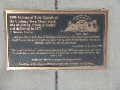 The Coalinga Centennial Time Capsule image. Click for full size.