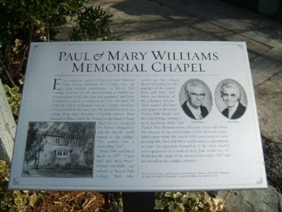Paul & Mary Williams Memorial Chapel Marker image. Click for full size.
