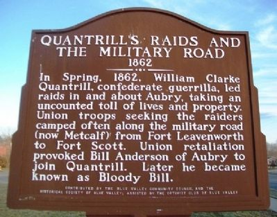Quantrill's Raids and the Military Road Marker image. Click for full size.
