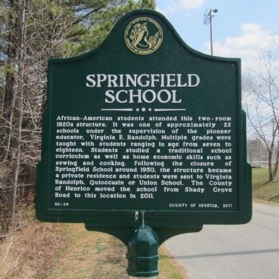 Springfield School Marker image. Click for full size.