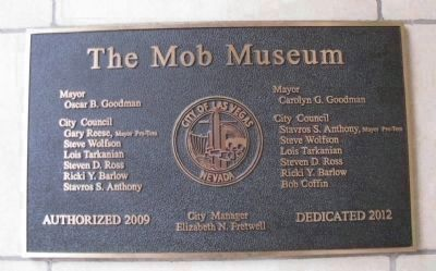 The Mob Museum Dedication Plaque image. Click for full size.
