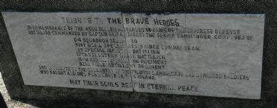 """Tribute to the Brave Heroes"" - English text marker on north side of base image. Click for full size."