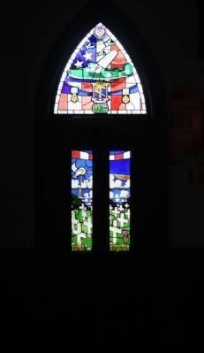 93rd Bombardment Group door window at nearby Chapel of the Fallen Eagles image. Click for full size.